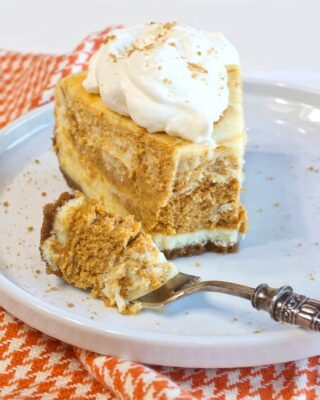 Marbled Pumpkin Spice Cheesecake with Gingersnap Crust