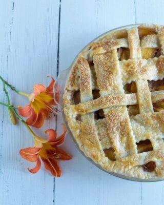 Lattice Topped Peach Pie